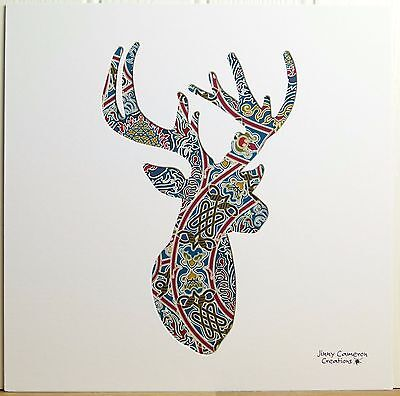 Liberty Of London Fabric Stag Picture Silhouette Art 3327