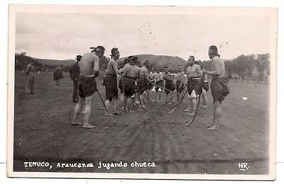 Real Photo PC Chile Temuco Araucanos Jugando Chueca Game w sticks VG c 1930s