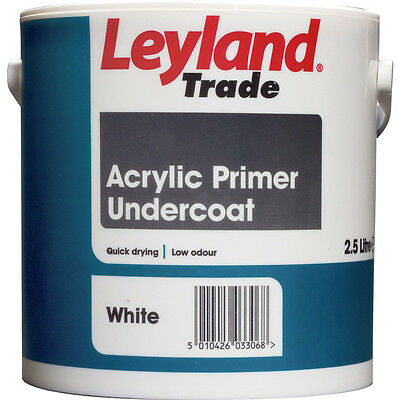 Leyland Trade Quick Drying Acrylic Wood Primer Undercoat White or Grey 2.5L & 5L