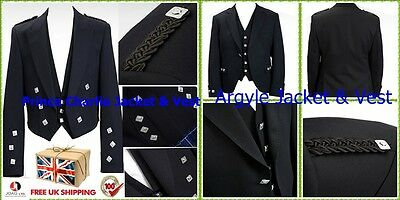 Prince Charlie jacket and vest- Argyle Jacket and waist coat Mixed Wool UK stock
