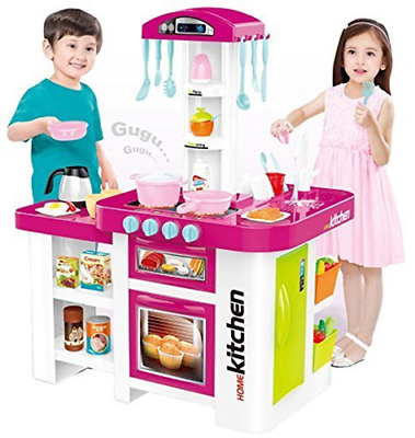 Girls Home Kitchen Role Play Set With Lights & Sound + 46Pc Accessories 889-63