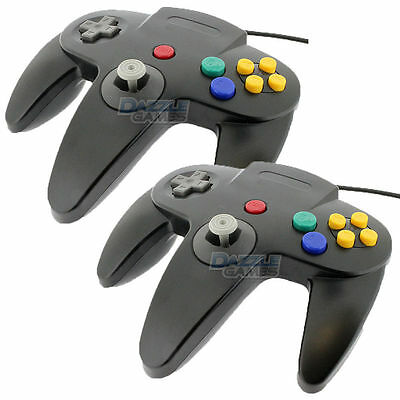 NEW 2 PCS Long Controller Game System for Nintendo 64 N64 Black