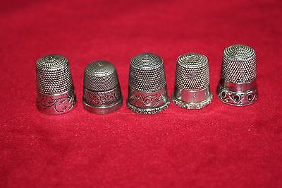 antique,STERLING SILVER,&,SILVER,thimbles,BEAUTIFUL LOT OF OLD THIMBLES