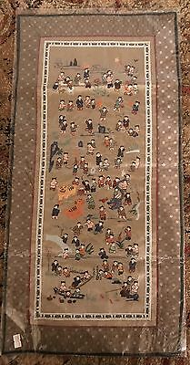 Vintage Chinese Silk Embroidery Tapestry of 100 Children Playing NOS RARE-NICE