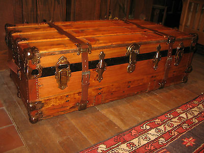 Antique Restored Flat Top Slat Steamer Trunk Stage Coach Chest Coffee Table 1800