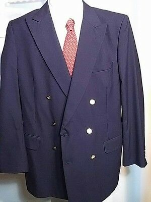 Burberry's Double Breasted Wool Navy Jacket Blazer Gold Buttons 42R Flaws