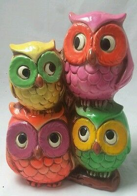 Vintage Stacked Owls Bank Napcoware Neon Pink Yellow Purple Green Owls Hippie 66