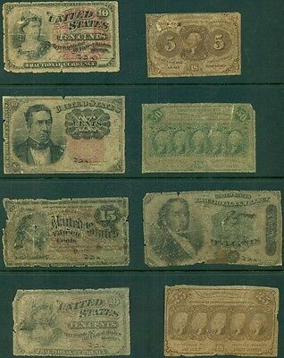 Fractional Currency, Group Of 8 Different, Faulty Low Grade