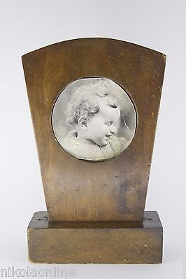Antique Massive Wood Vtg Old Picture Photo Frame Art Deco Mid Century Baby Boy