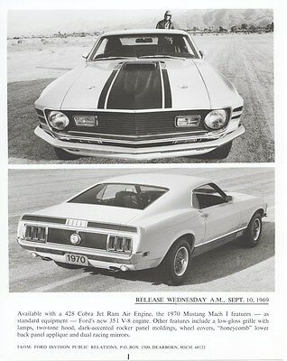 1970 Ford Mustang Mach I Factory Photo uc2103