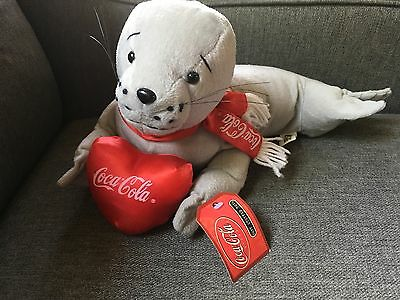 "2002 Coca Cola 14"" Plush Seal with heart and red Coca Cola scarf. Tags new cond"