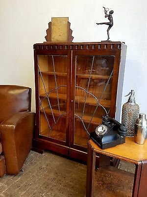 Art Deco Sunburst Glazed Oak Bookcase