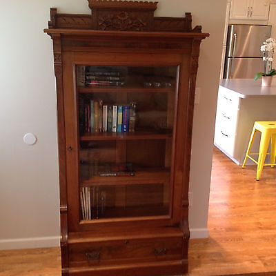Walnut Eastlake Victorian Bookcase, Orig Glass, Perfect size for any room