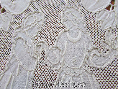 Antique Italian Embroidered Figural Bridal Lace Linen Banquet TABLECLOTH 67x100""