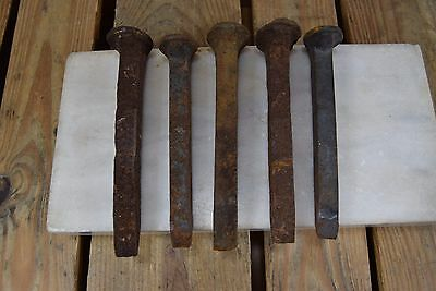 Lot of 5 Antique Rusty Railroad Spike Nails