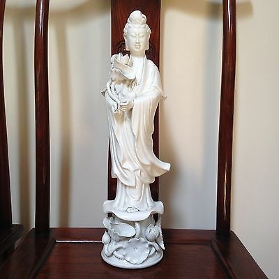 "VINTAGE QUAN YIN GODDESS FIGURINE PORCELAIN CHINESE BIG-20"" Tall-Excell Conditi"