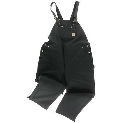 Carhartt 2286 Mens Black Cotton Quilt Lined Flat Front Overalls 48/32 BHFO