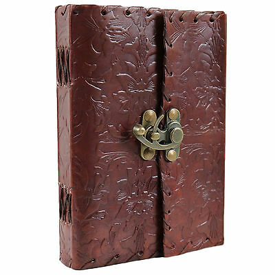Floral Leather Journal Handmade Blank Notebook Diary Vintage Sketch Book Latch