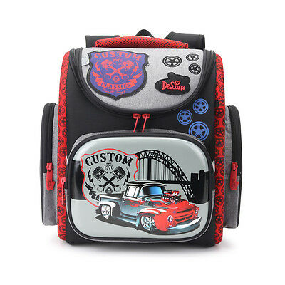 Delune Hard Orthopedic School Bag Boys Car Children Primary Students Backpack