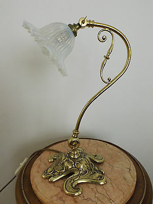 Rare Hinks Art Nouveau Table Lamp With Original Vaseline Shade