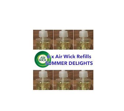 6 Pack Air Wick Essential Oil Electric Refill Summer Delight 13Ml (Unboxed)