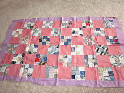 """Antique Vintage Childs Baby Lap Quilt Top Feed Sack Feedsack 30"""" x 48"""""""