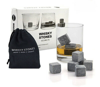 9pcs Whisky Ice Stones Cooler Drinks Cubes Whiskey Scotch Rocks & Pouch 2x2cm