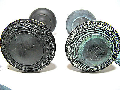 Antique  Heavy Brass Door Knobs Two Sets With Rods And Two Back Plates