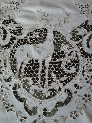 Vtg Antique Madeira Deer Stag Hand Embroidered Linen Banquet Tablecloth Rare
