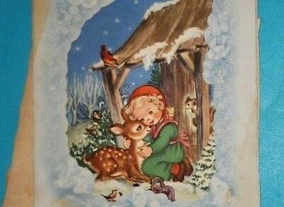 1940s Girl with a Deer~VTG XMAS GREETING CARD in the Snow Birds Houses LOT of 2
