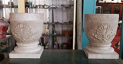 Large Antique Pair Solid Marble Urns - Neo-Classical Design - Grecian Key