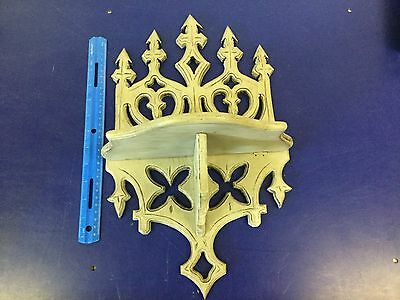 Spectacular Antique Victorian Gothic Carved Fretwork Folding Wall Shelf Grey