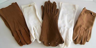 Vintage Lot 5 Pair of Ladies Gloves White Tan Cotton Stretch Womens Gloves