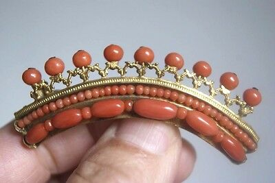 Rare Antique French Gilt Metal Coral Diadem Comb With Brooch Pin 6.5 Cm ( 8.9 G)