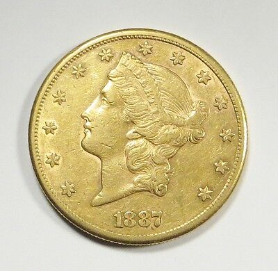 1887-S  LIBERTY HEAD $20 DOUBLE EAGLE Gold Coin