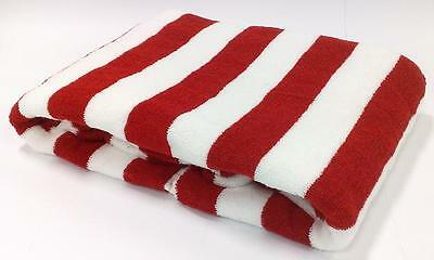 100% COTTON 75X150cm LARGE  STRIPE RED STRIPED POOL / BEACH TOWEL TOWELS