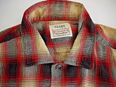 DISTRESSED VINTAGE SEARS SHADOW PLAID men S flannel shirt S board WORK WEAR