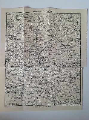 Oxford and District, c1941 Antique Map, Bartholomew Atlas, Stanford, Abingdon