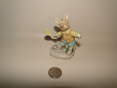 "Ceramic Rabbit Figurine Boy Playing Tennis, Pastel Colors, 3 1/2"" Tall"