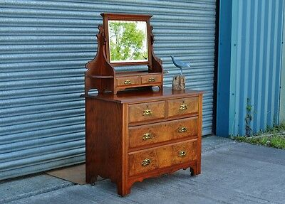 Antique Edwardian Mahogany Dressing Table Chest Of Drawers On Caster Wheels.
