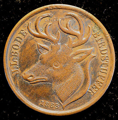 1863 J.L. Bode Birdstuffer NY Deer Stag Head Civil War Trade Token Coin