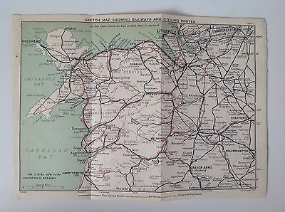 Railway & Cycling Routes, 1899 Antique Map, Bartholomew Atlas, North Wales