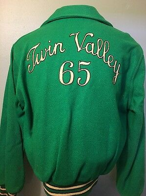 Vtg Car Club Jacket Wool Chainstitch Embroidery Mens 40 1960s School Coat 60s M