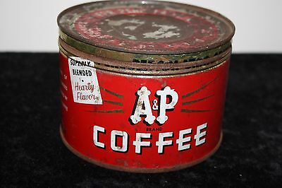 Vintage 1LB A & P COFFEE TIN CAN CORRECT LID NEW YORK NY NICE RED Some Rust