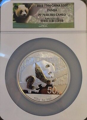 2016 China 150g Silver Panda ¥50 Yuan NGC PF70 UC Exclusive Panda Label OGP
