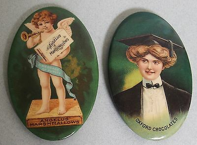 Exc. Pair Of Candy Advertising Pocket Mirrors Oxford Choc & Angelus Marshmallows