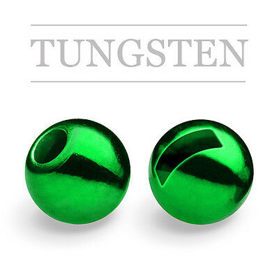 "10) 7/64"" GREEN SLOTTED TUNGSTEN 3.0mm fly tying beads, metallic, czech nymph"