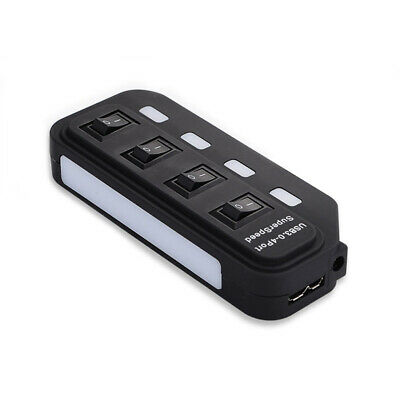 USB 3.0 Hub 4 Port LED Indicator For PC Computer Laptop w/ Power Adapter Switch