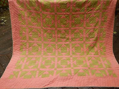 Early Patchwork Quilt with HOMESPUN YARDAGE fr PA  CUTTER vintage