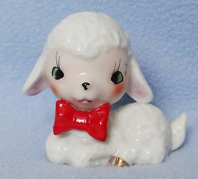 Lamb sheep figurine reclining with red bow made in Japan 2 1/2""